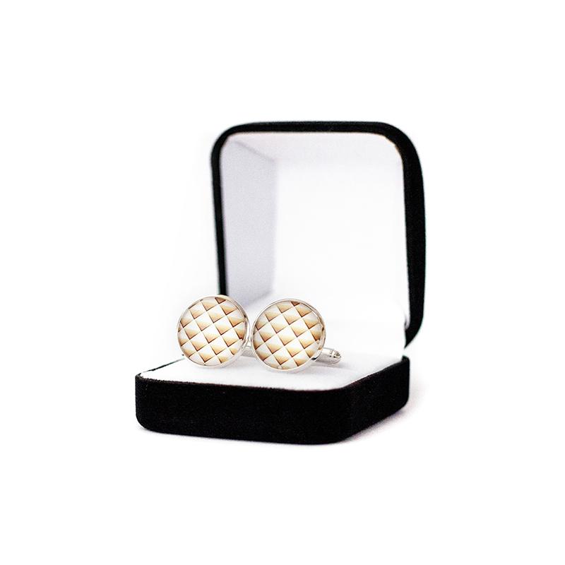 Butoni personalizati camasa gold alb