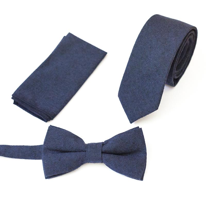 Set papion batista de buzunar cravata albastru
