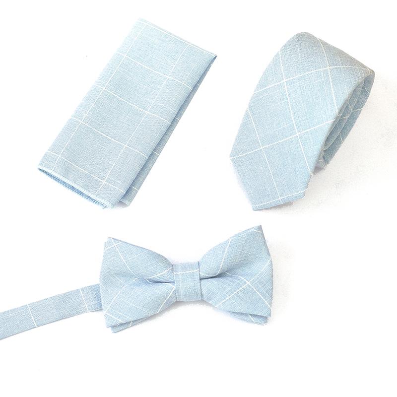 Set papion batista de buzunar cravata albastru deschis